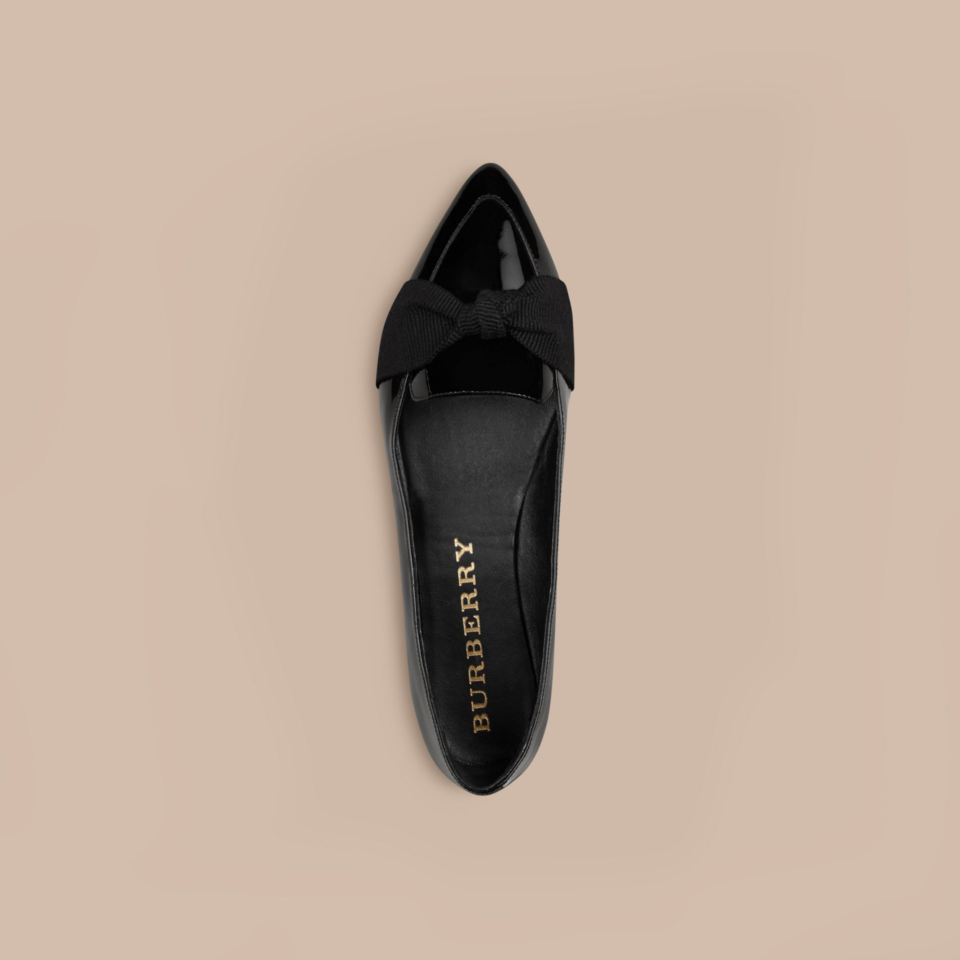 Grosgrain Bow Patent Leather Loafers in Black - Women | Burberry - gallery image 3