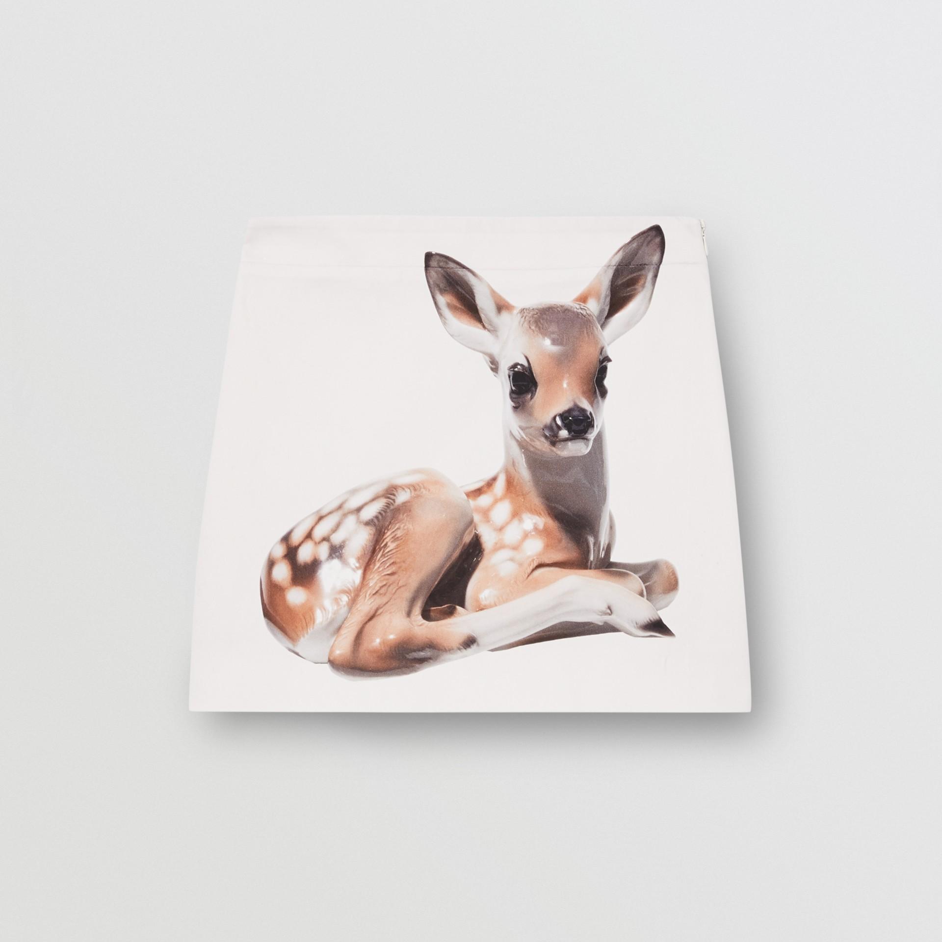 Deer Print Stretch Denim Mini Skirt in White - Women | Burberry - gallery image 3