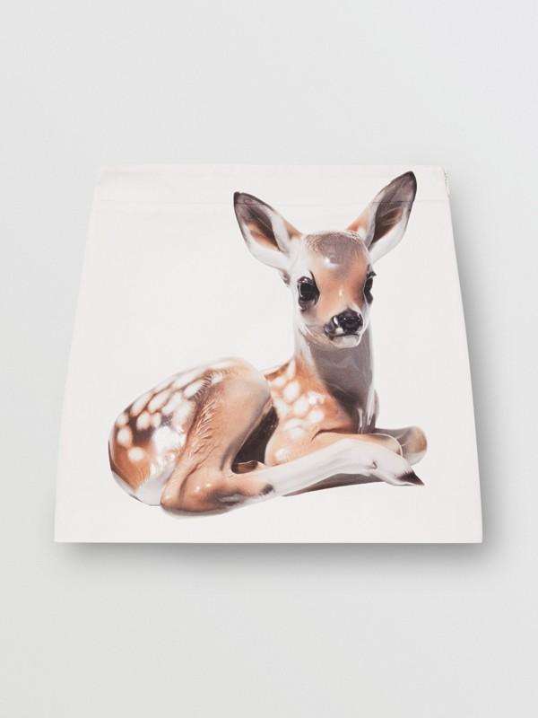 Deer Print Stretch Denim Mini Skirt in White - Women | Burberry - cell image 3