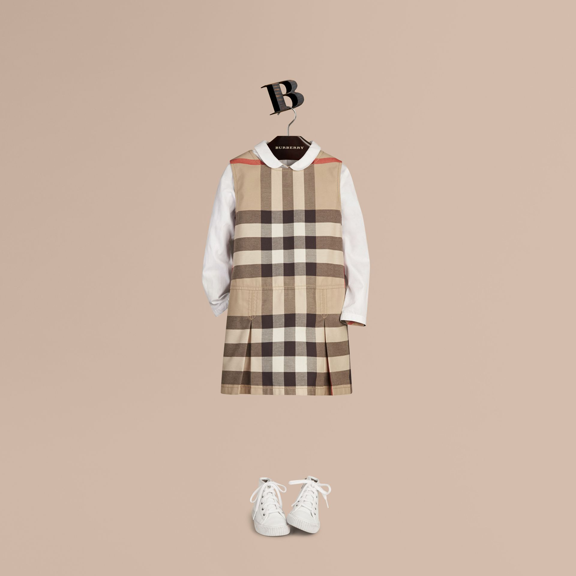 Check Cotton Dress with Inverted Pleats in New Classic - Girl | Burberry - gallery image 1