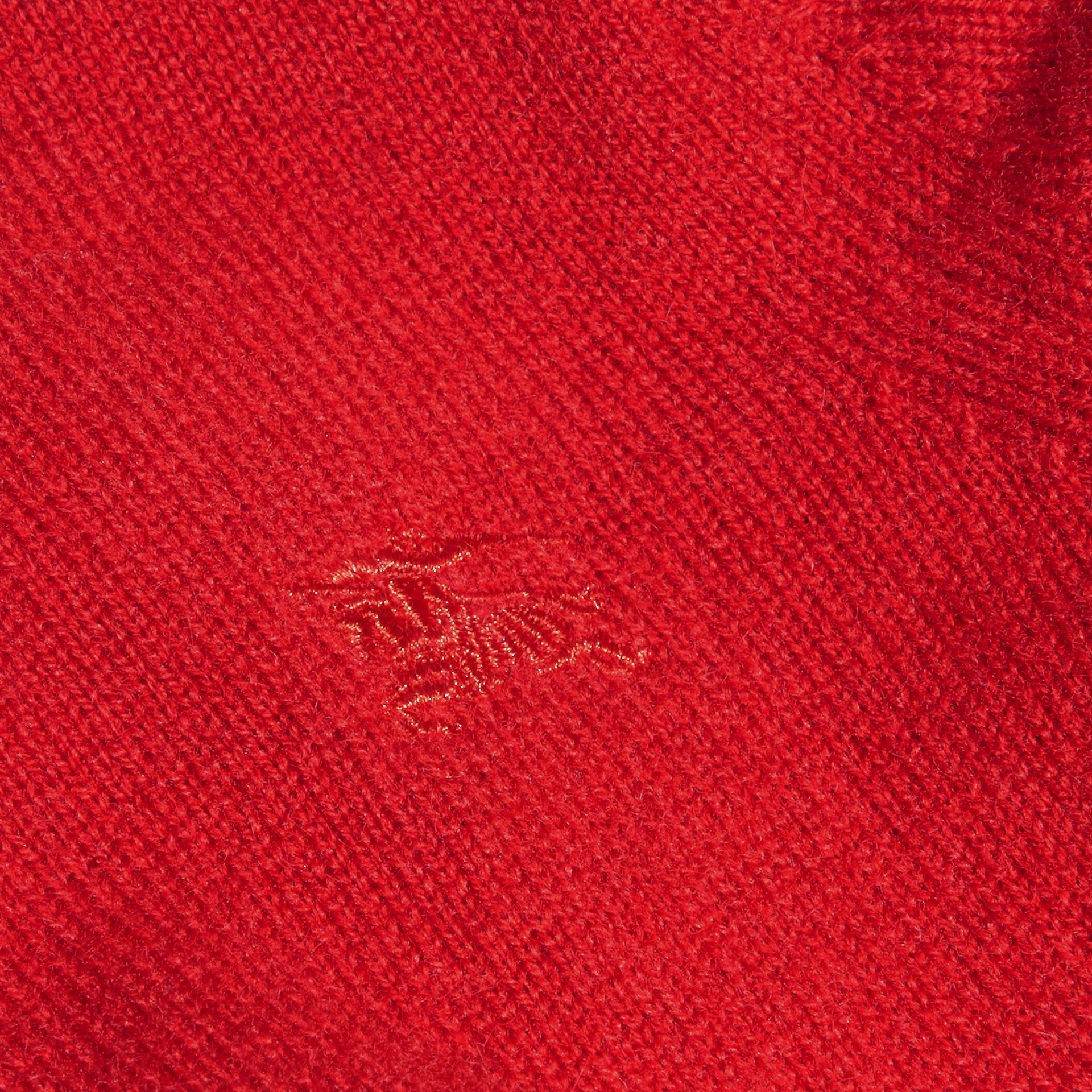 Check Detail Cashmere Sweater in Parade Red | Burberry Canada - gallery image 2