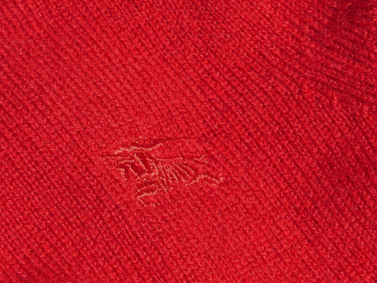 Check Detail Cashmere Sweater in Parade Red | Burberry Canada - cell image 1