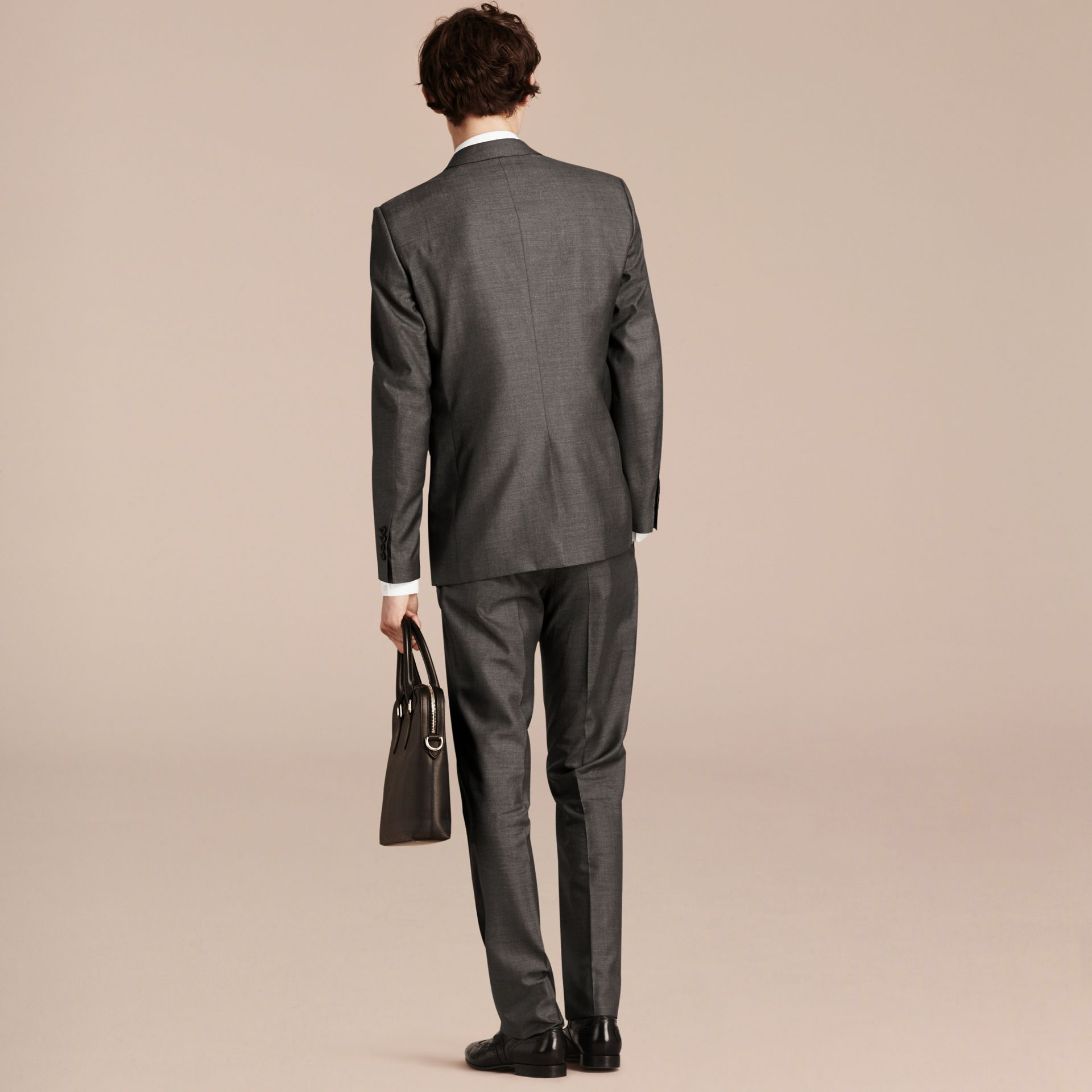 Dark grey melange Modern Fit Wool Silk Half-canvas Suit - gallery image 3