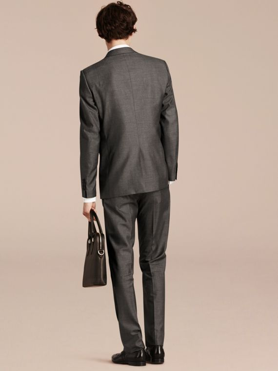 Dark grey melange Modern Fit Wool Silk Half-canvas Suit - cell image 2