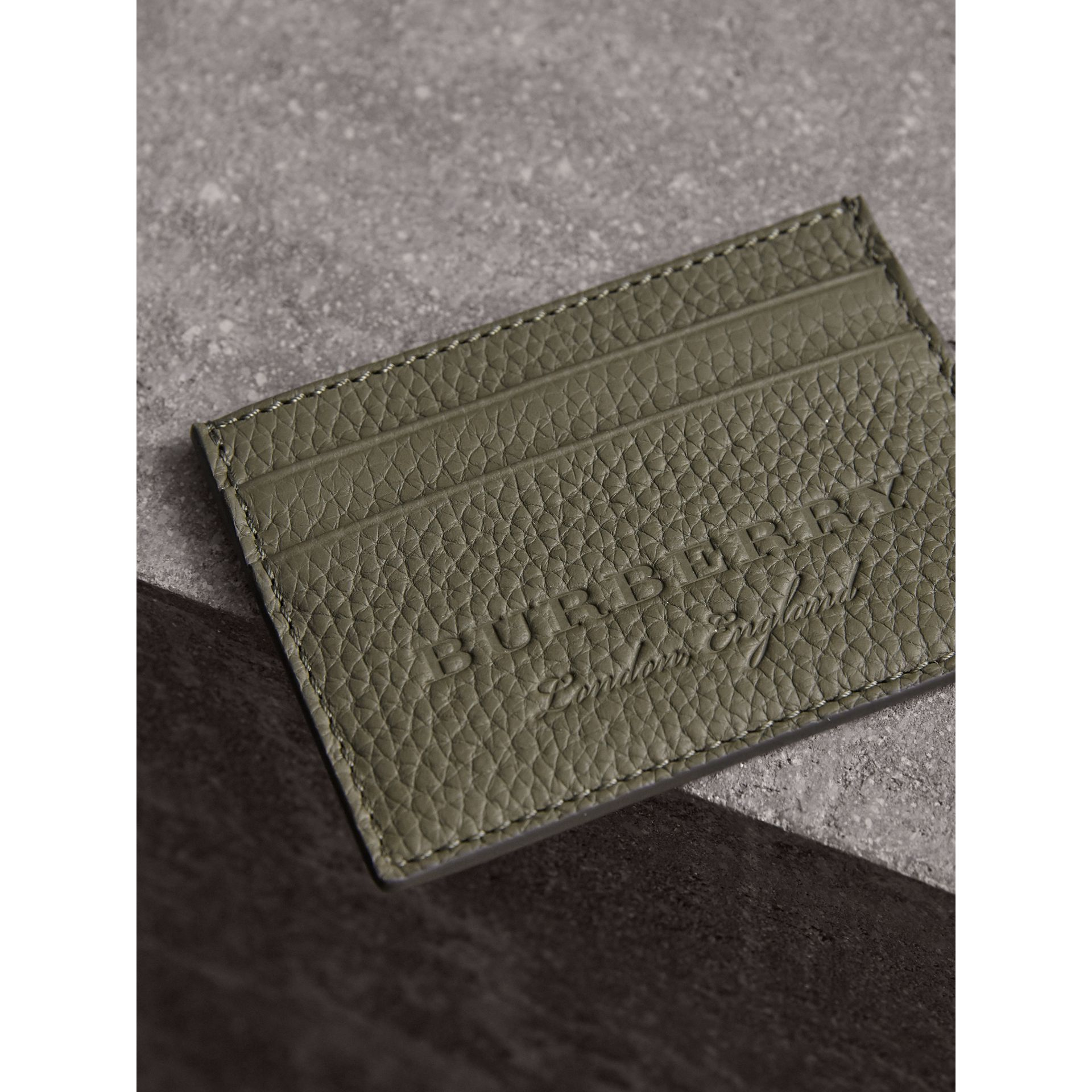 Textured Leather Card Case in Slate Green - Men | Burberry - gallery image 1