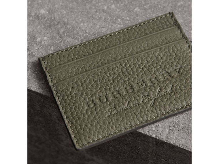 Textured Leather Card Case in Slate Green - Men | Burberry - cell image 1
