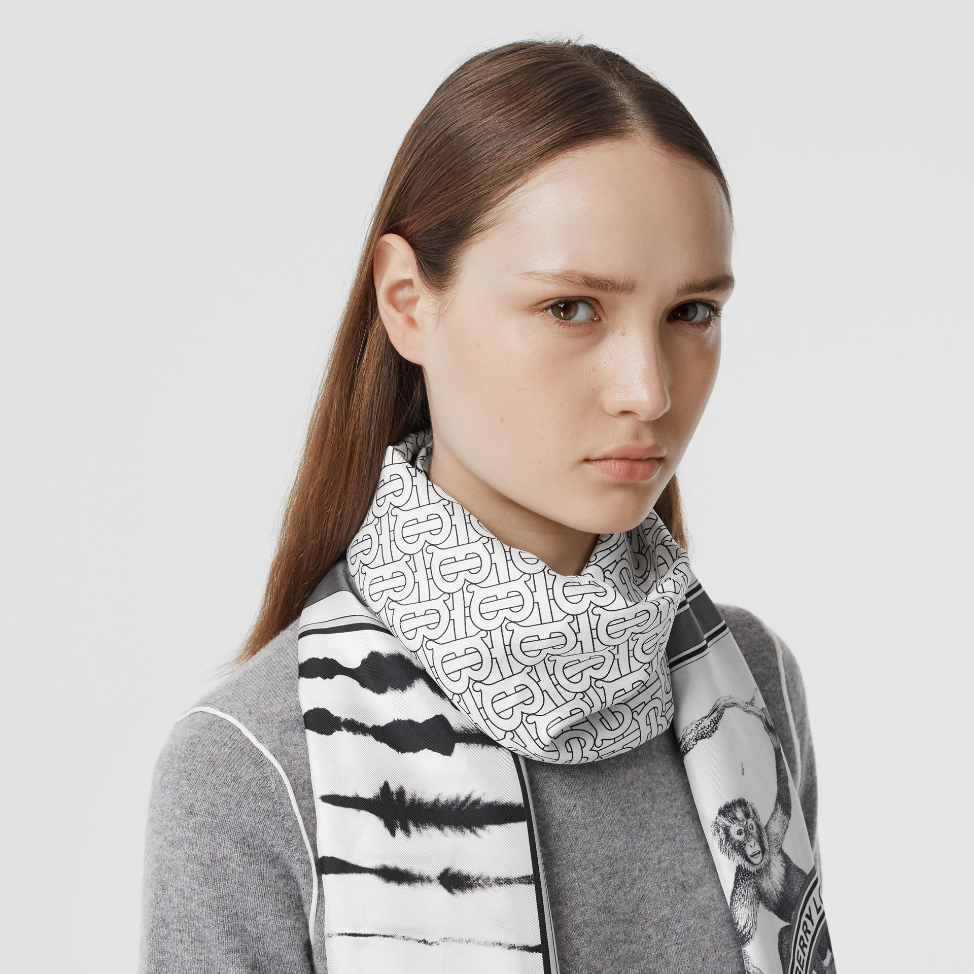 Montage Print Silk Scarf in Monochrome | Burberry United States - gallery image 2