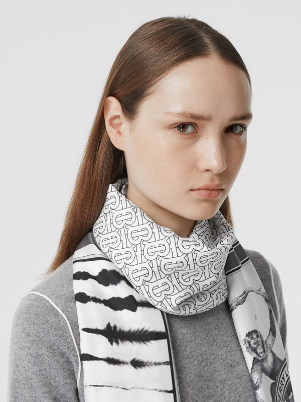 Montage Print Silk Scarf in Monochrome | Burberry - cell image 2