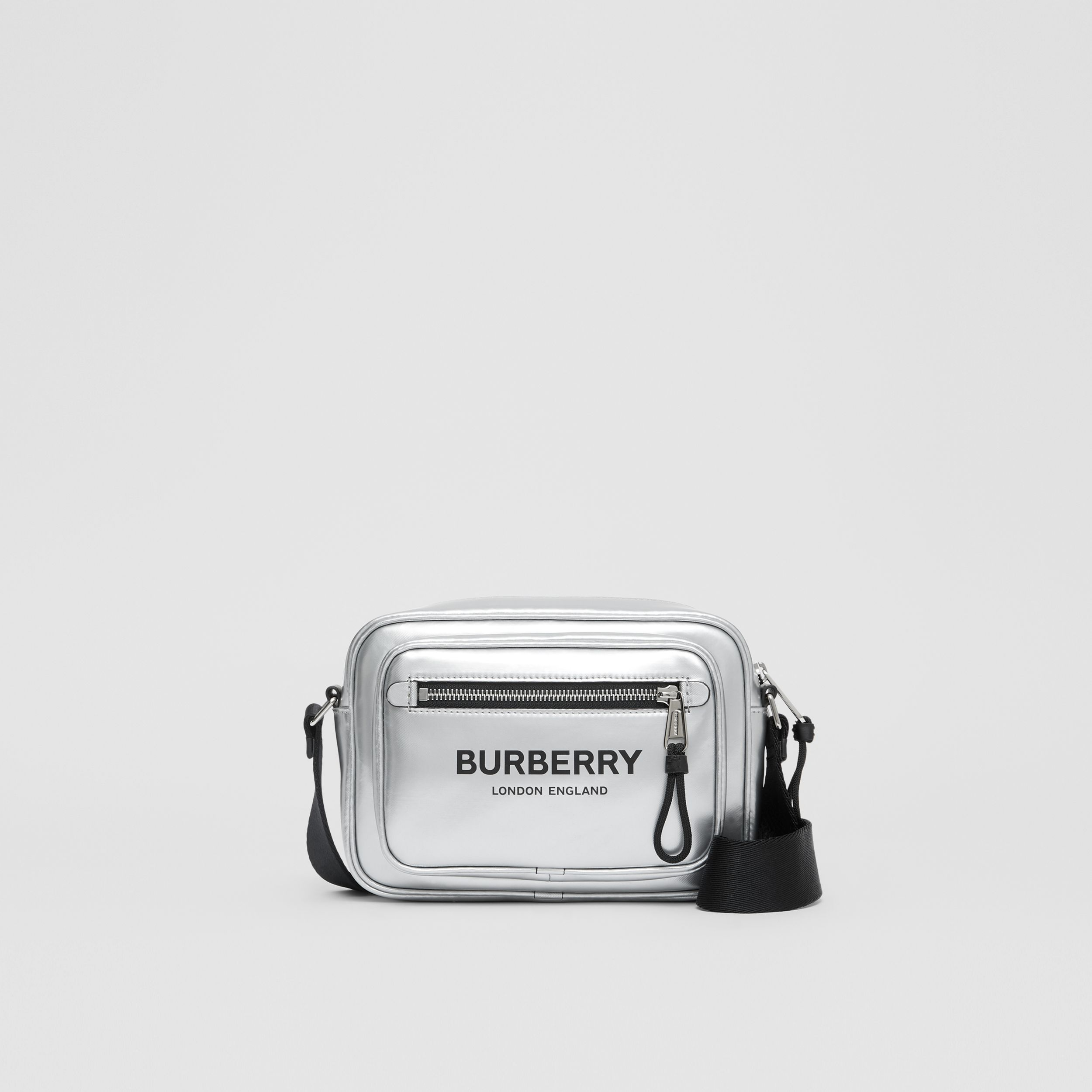 Metallic Coated Canvas Crossbody Bag in Silver - Men | Burberry Australia - 1