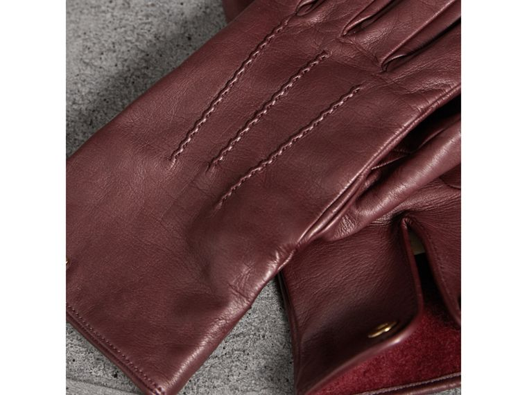 Cashmere Lined Lambskin Gloves in Dark Claret - Men | Burberry - cell image 2