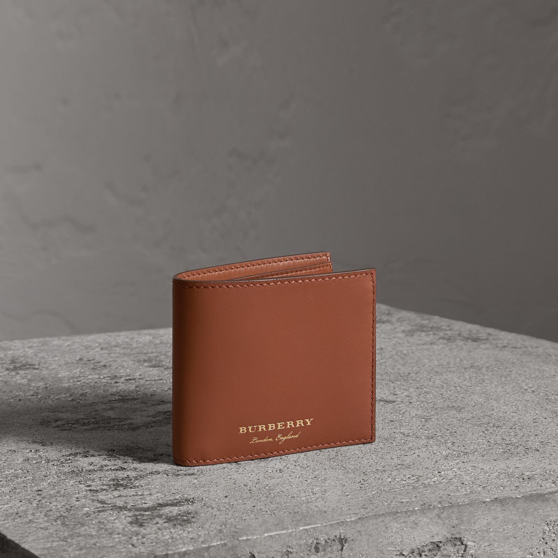 Trench Leather Bifold Wallet with Removable Card Case in Tan - Men | Burberry - gallery image 0