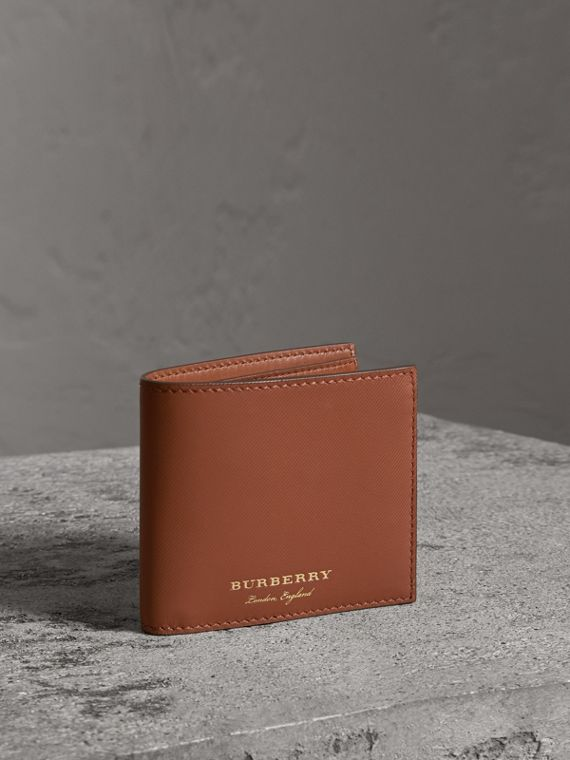 Trench Leather Bifold Wallet with Removable Card Case in Tan