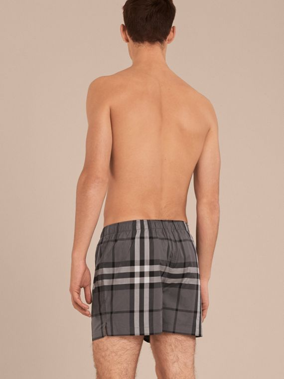 Check Twill Cotton Boxer Shorts in Charcoal - cell image 2