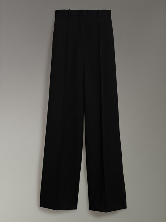 High-waisted Wool Trousers in Black - Women | Burberry - cell image 3
