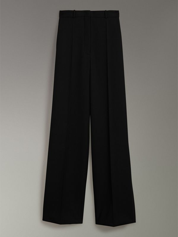 Wool High-waisted Trousers in Black - Women | Burberry United Kingdom - cell image 3