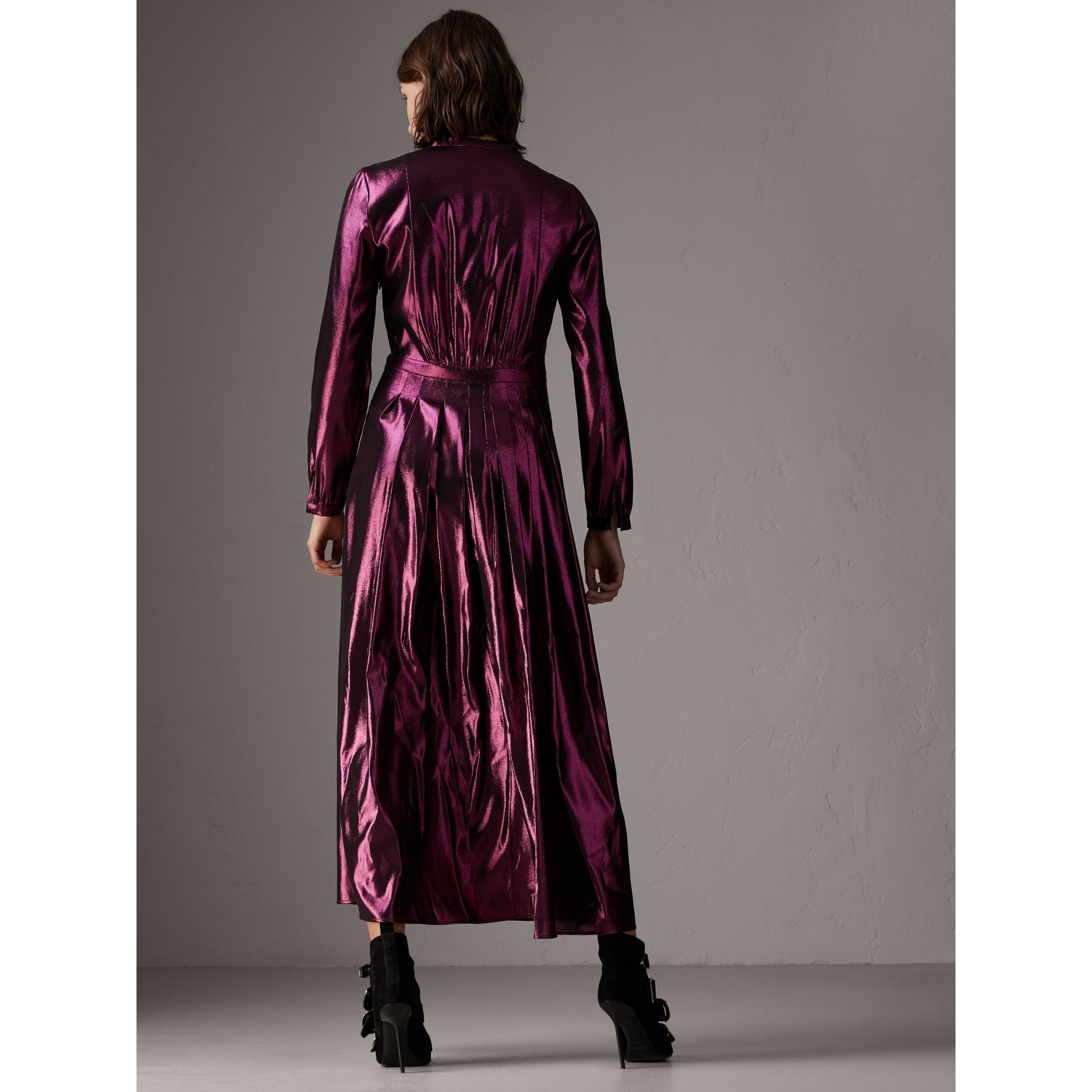 Long-sleeve Pintuck Lamé Dress in Bright Fuchsia - Women | Burberry United Kingdom - gallery image 2