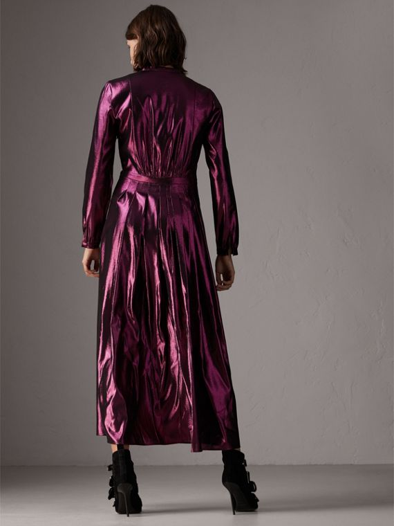 Long-sleeve Pintuck Lamé Dress in Bright Fuchsia - Women | Burberry United Kingdom - cell image 2