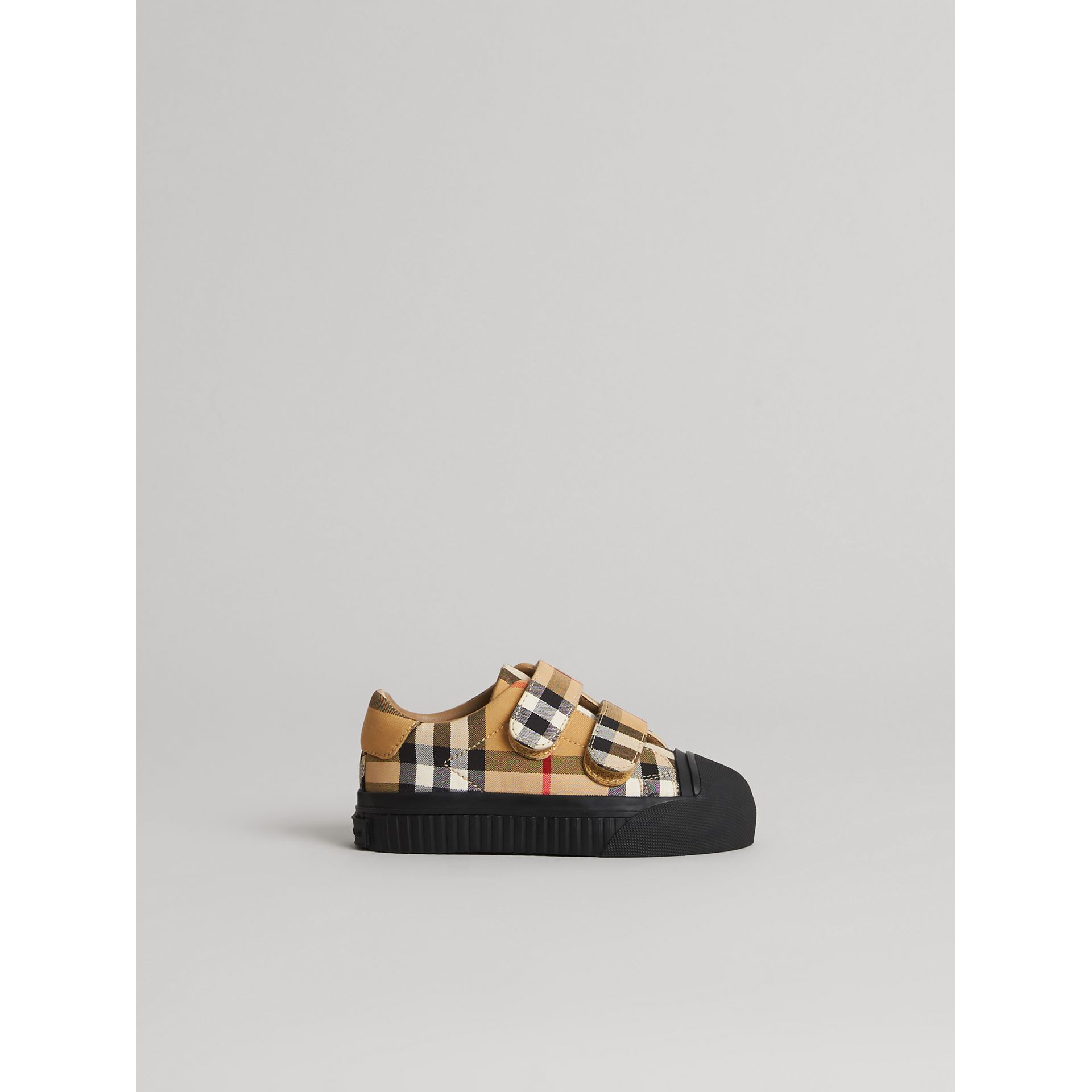 Vintage Check and Leather Sneakers in Antique Yellow/black - Children | Burberry Singapore - gallery image 3