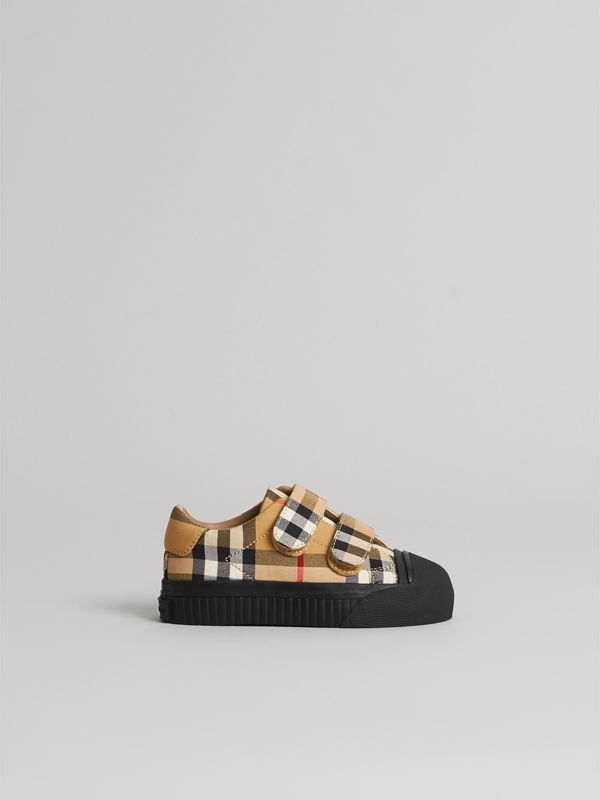Vintage Check and Leather Sneakers in Antique Yellow/black - Children | Burberry - cell image 3
