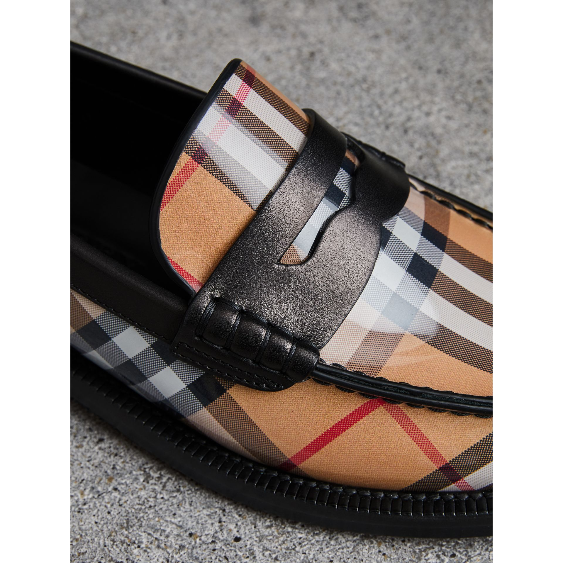 Vintage Check and Leather Penny Loafers in Antique Yellow - Women | Burberry Canada - gallery image 1