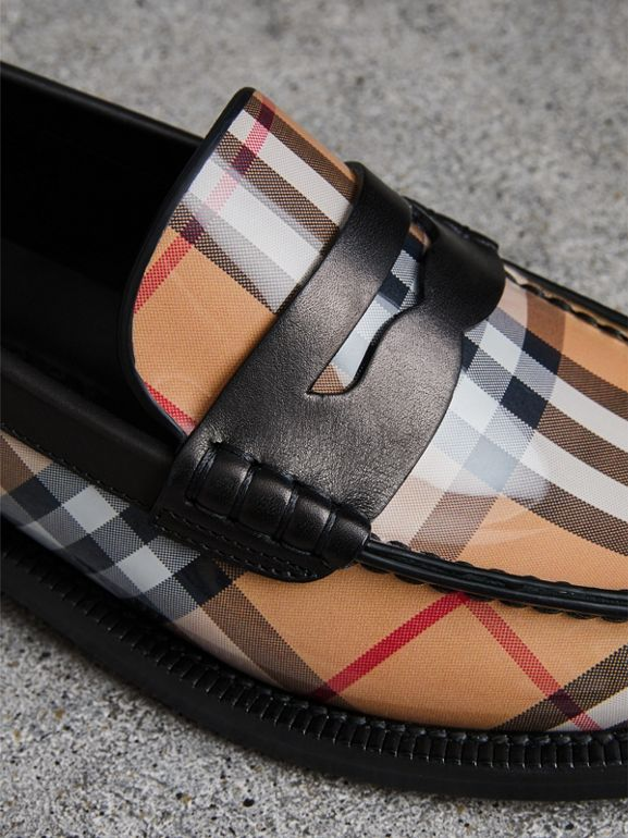 Vintage Check and Leather Penny Loafers in Antique Yellow - Women | Burberry Canada - cell image 1