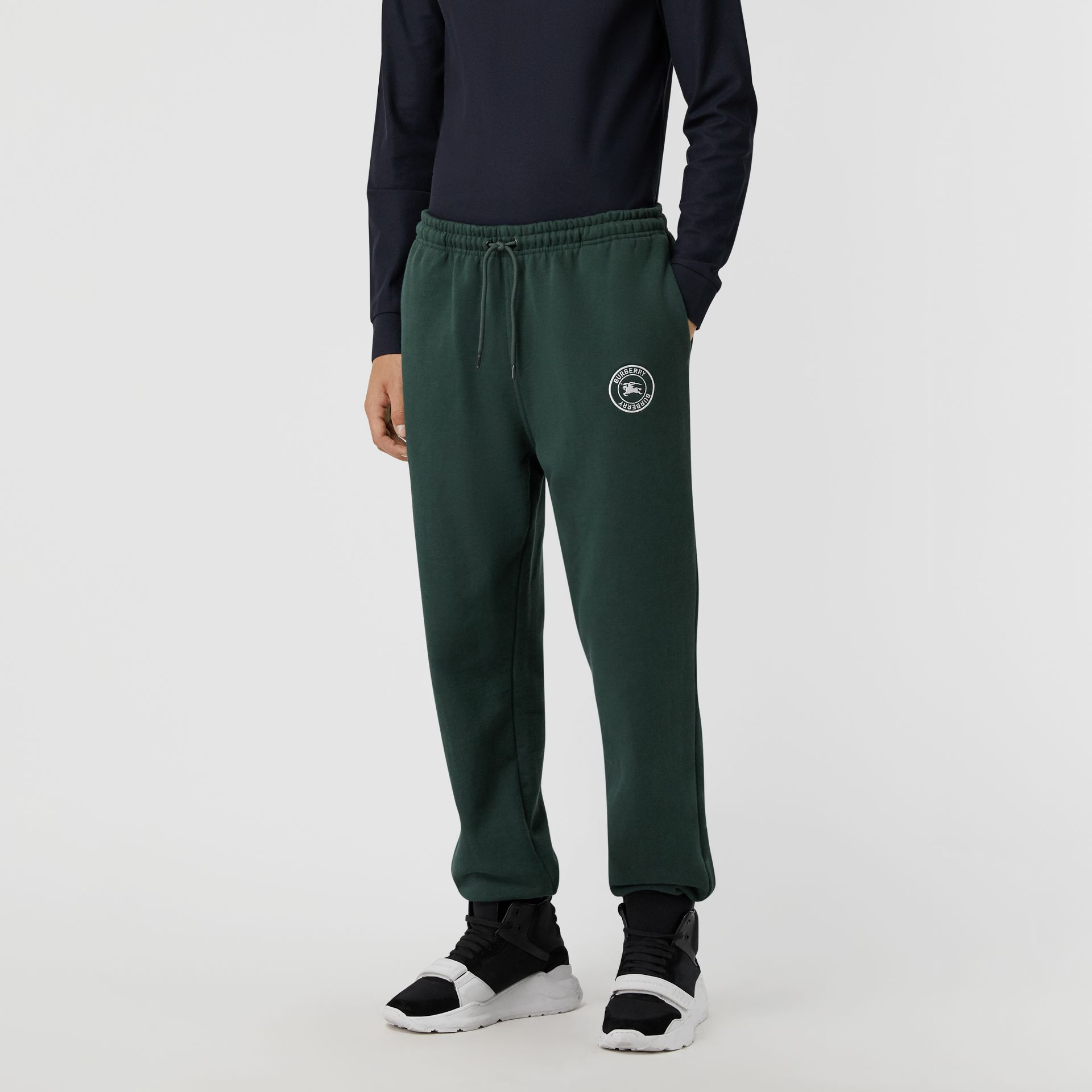 Embroidered Logo Jersey Trackpants in Forest Green - Men | Burberry Australia - gallery image 4