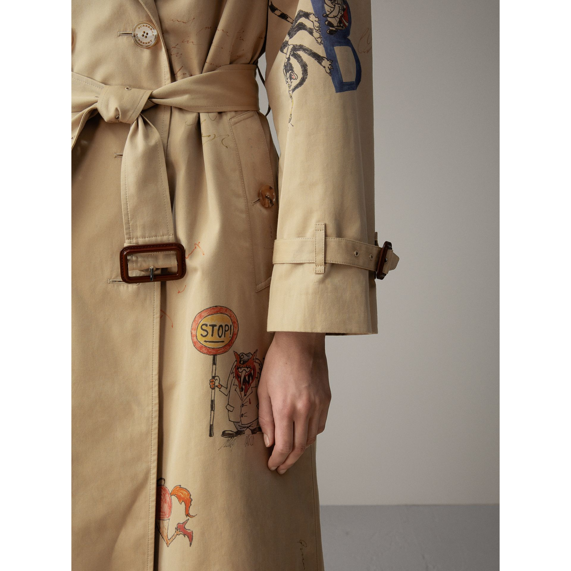 Sketch Print Tropical Gabardine Trench Coat in Honey - Women | Burberry - gallery image 1