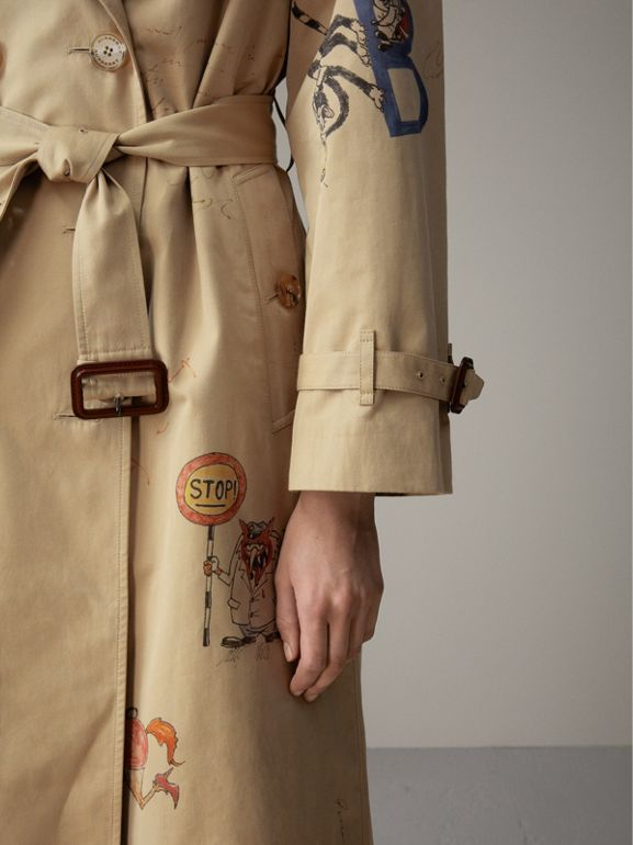 Sketch Print Tropical Gabardine Trench Coat in Honey - Women | Burberry - cell image 1