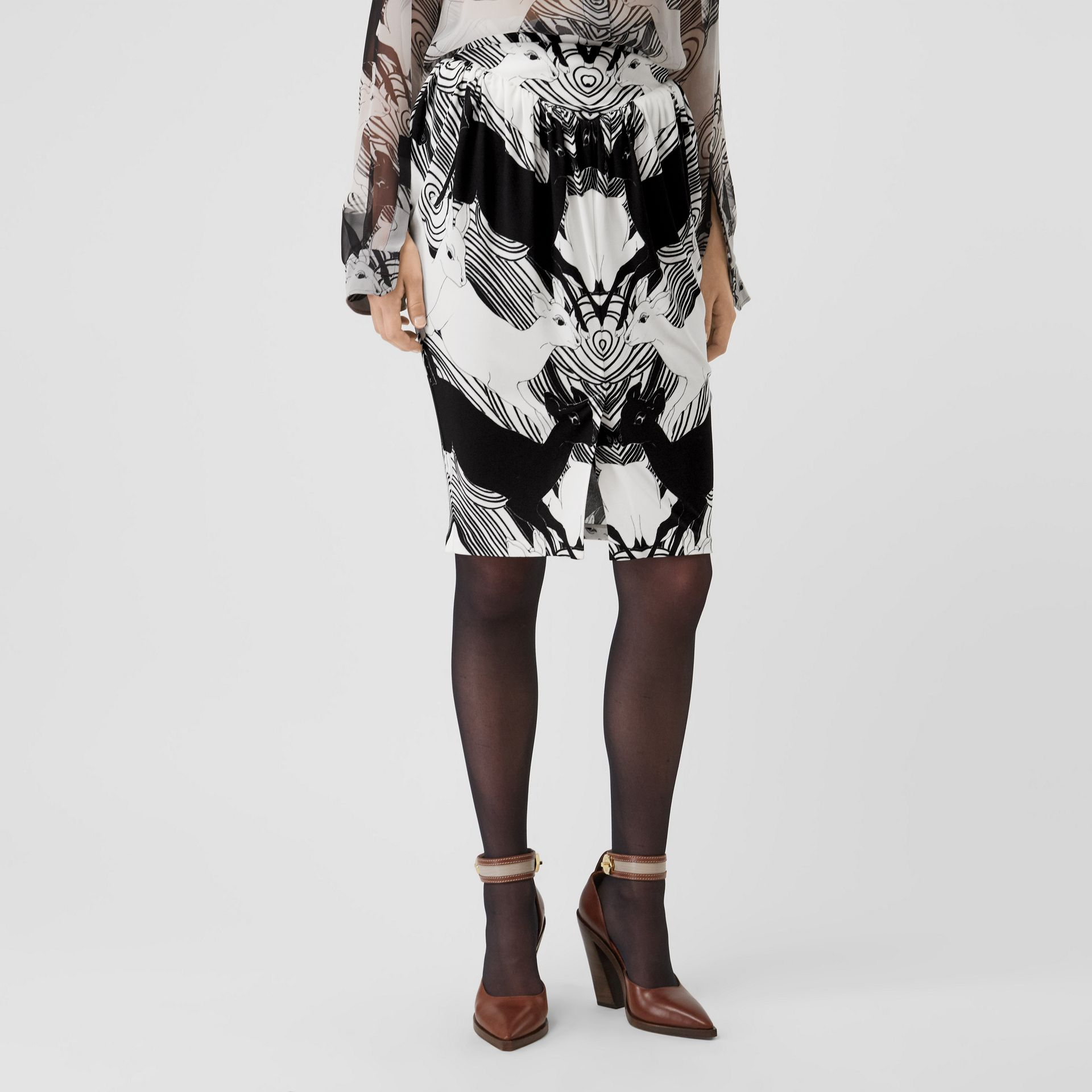 Deer Print Gathered Jersey Sculptural Skirt in Monochrome - Women | Burberry - gallery image 4
