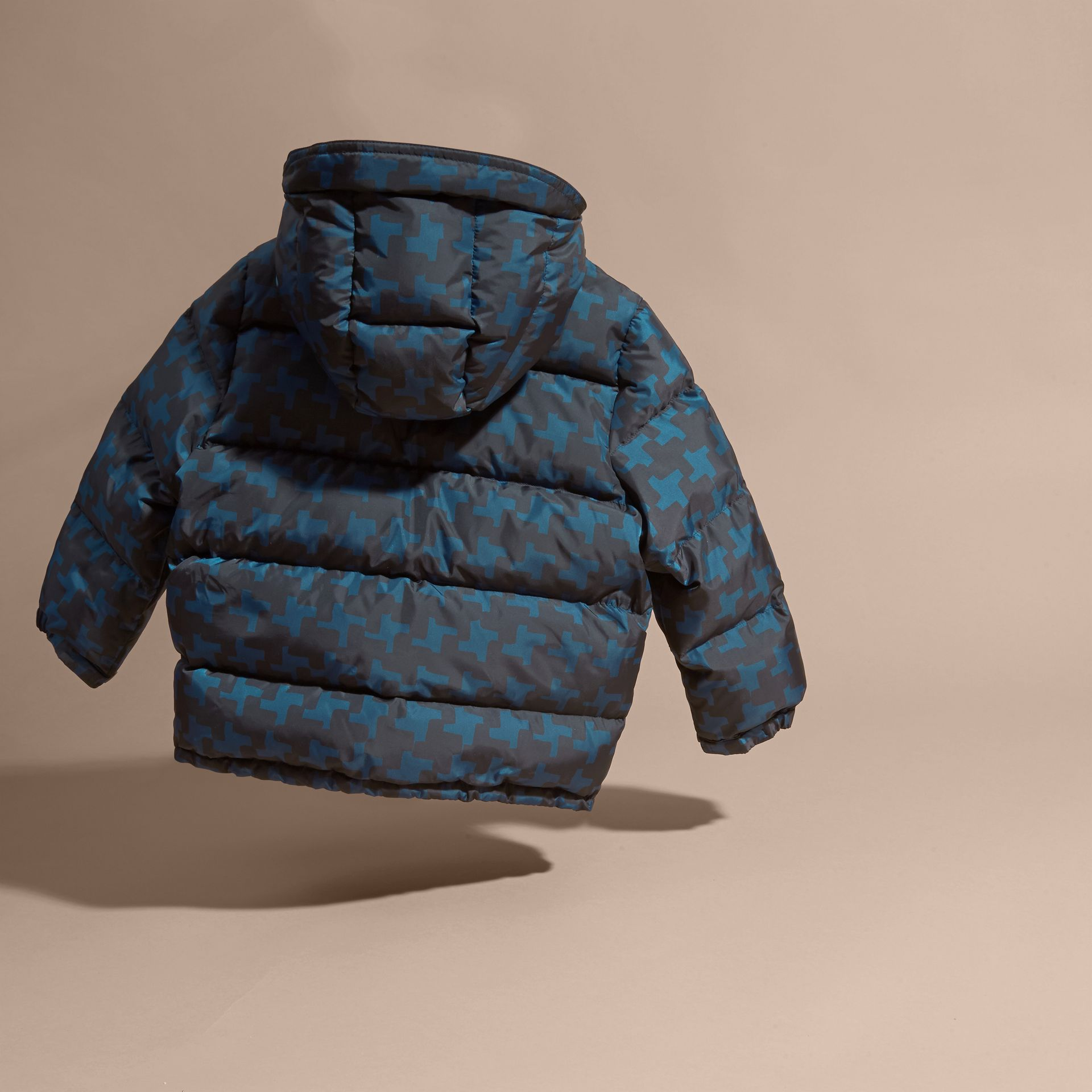 Mineral blue Printed High-shine Down-filled Puffer Coat - gallery image 4