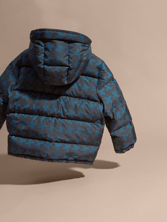Mineral blue Printed High-shine Down-filled Puffer Coat - cell image 3