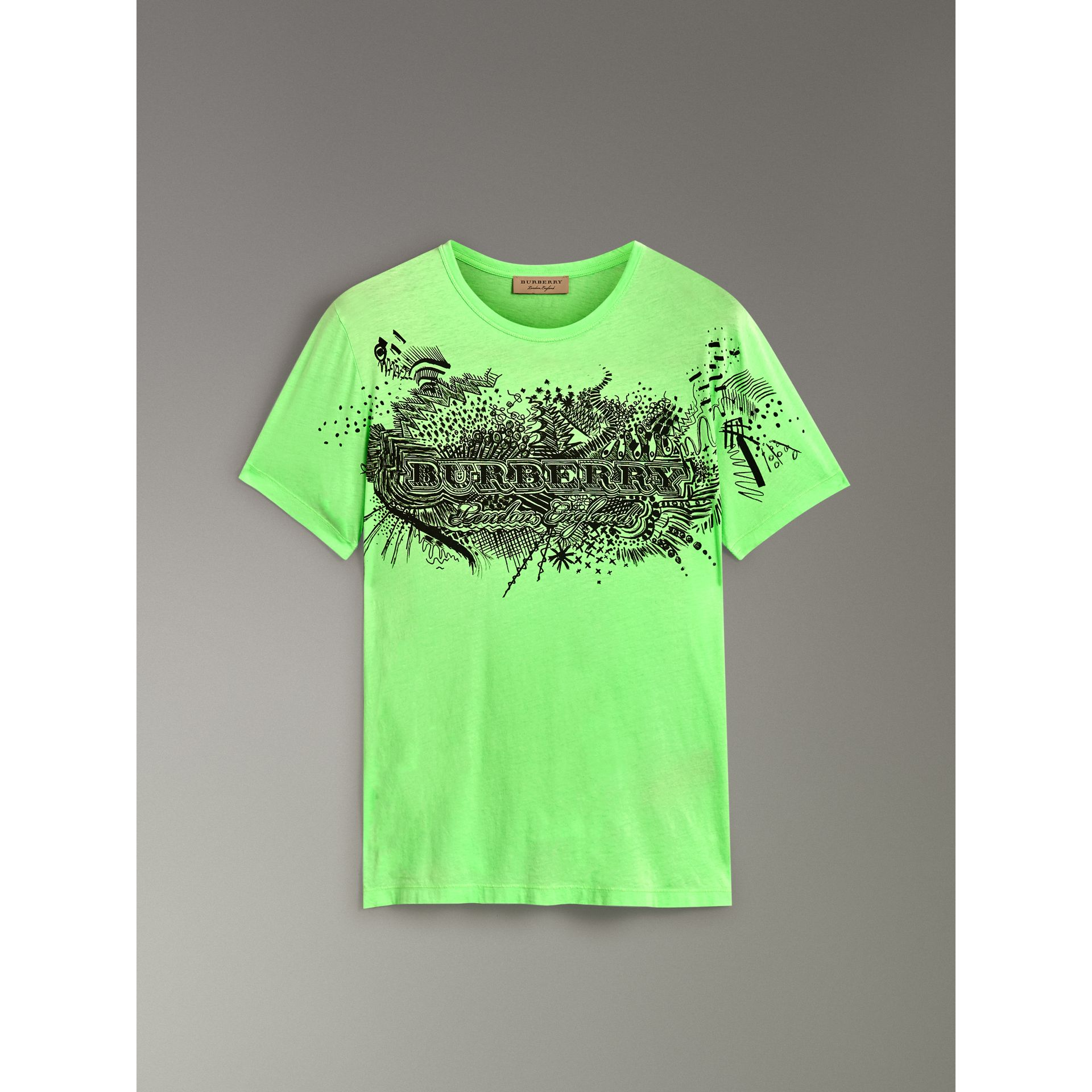 Doodle Print Cotton T-shirt in Bright Apple Green - Men | Burberry - gallery image 3