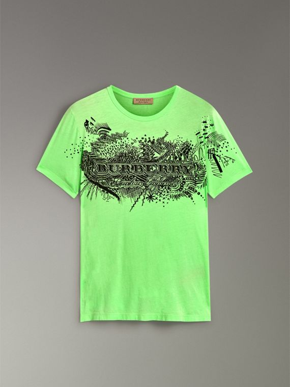 Doodle Print Cotton T-shirt in Bright Apple Green - Men | Burberry - cell image 3