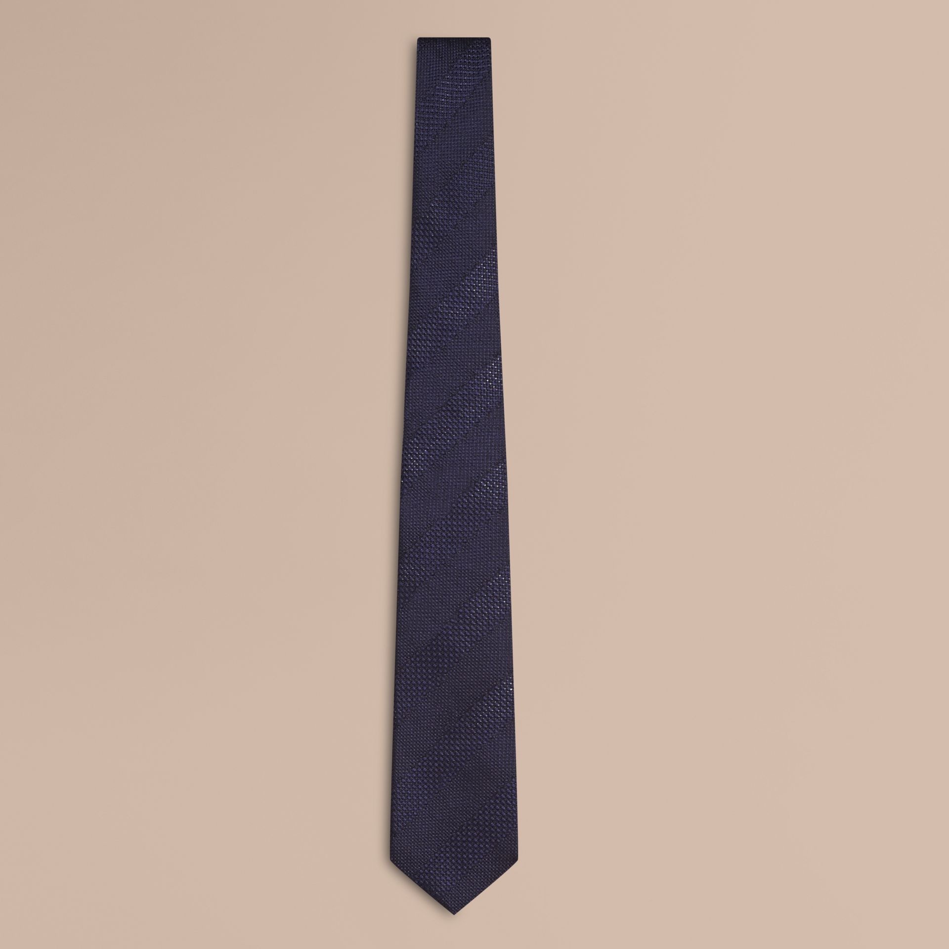 Navy Modern Cut Striped Silk Jacquard Tie Navy - gallery image 1