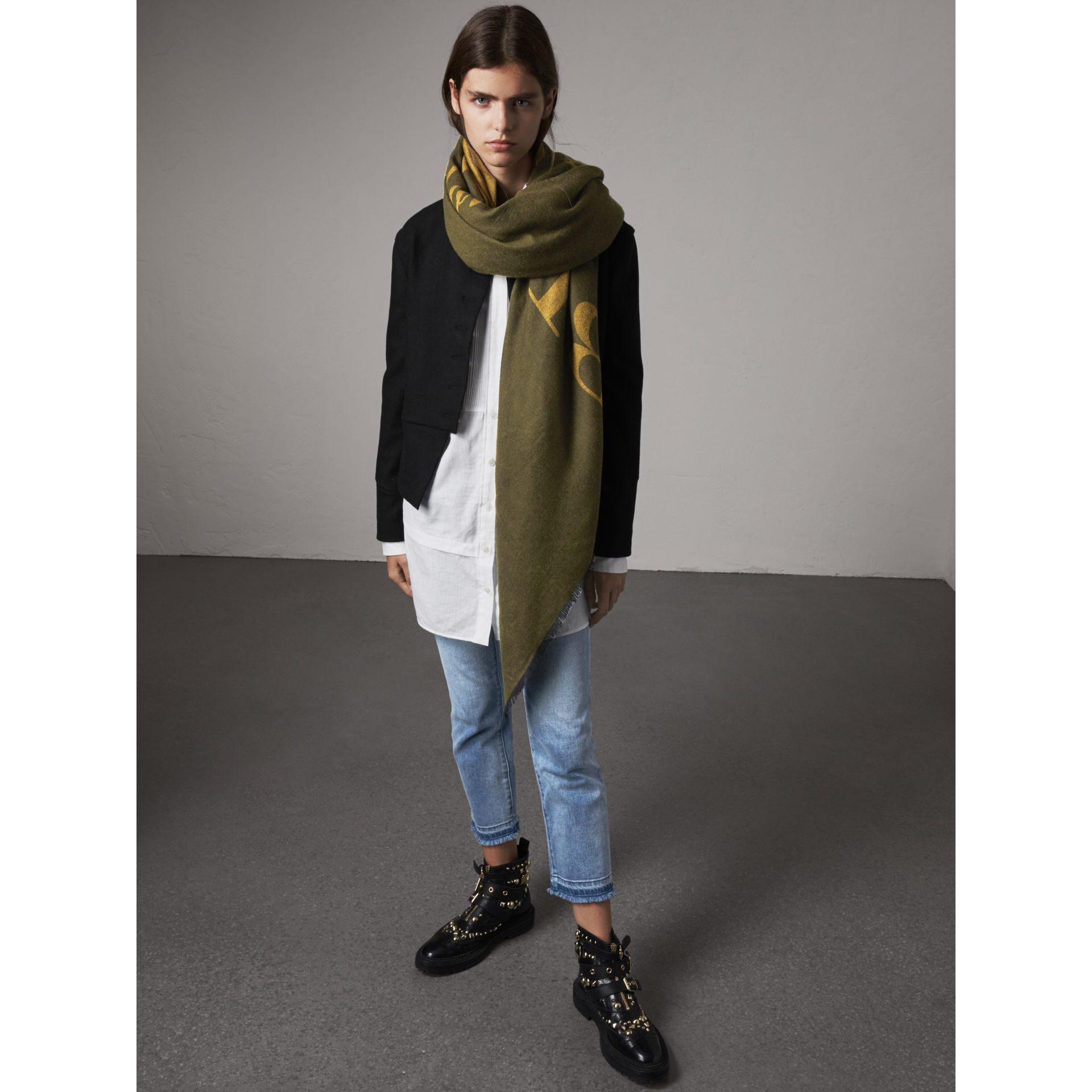 Graphic Print Motif Cashmere Wrap in Olive - Women | Burberry - gallery image 3