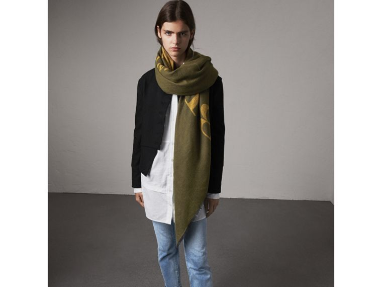 Graphic Print Motif Cashmere Wrap in Olive - Women | Burberry - cell image 2