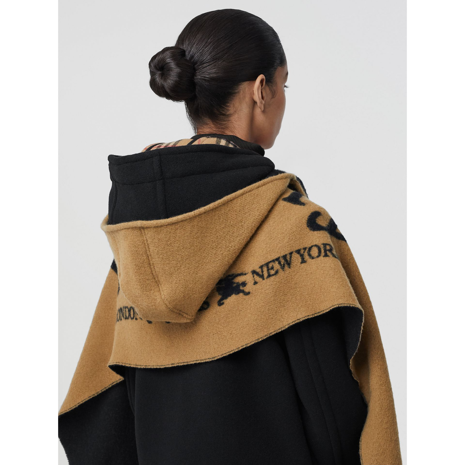 Archive Logo Wool Cashmere Hooded Scarf in Hazelnut - Women | Burberry - gallery image 1