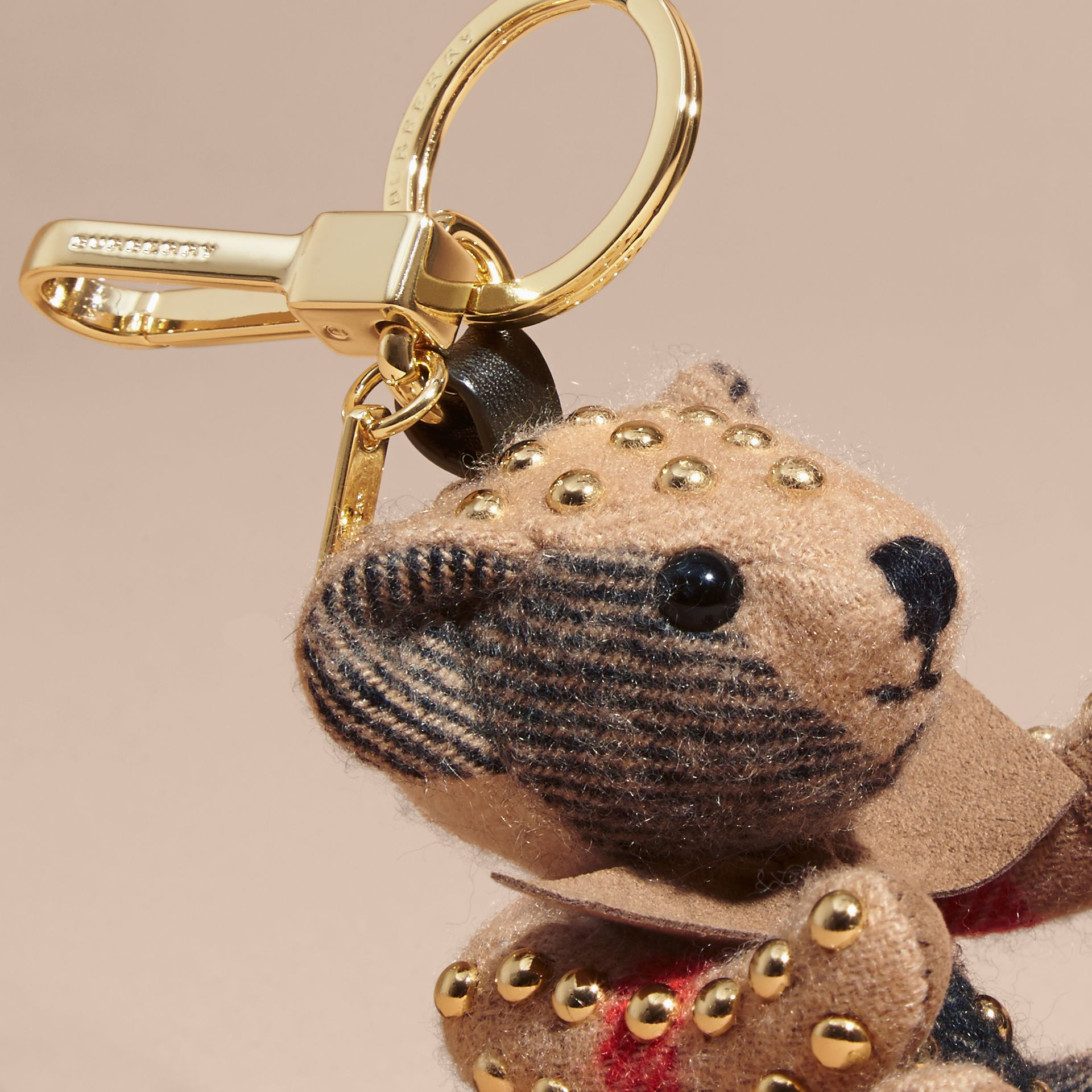 Thomas Bear Charm in Riveted Check Cashmere in Camel - Women | Burberry United Kingdom - gallery image 1