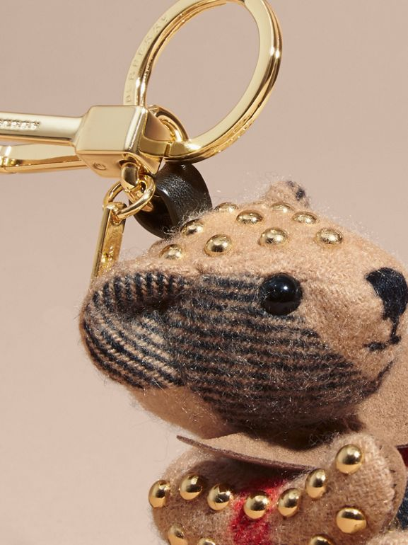 Thomas Bear Charm in Riveted Check Cashmere in Camel - Women | Burberry Australia - cell image 1