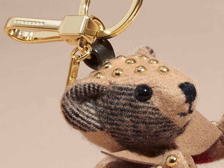 Thomas Bear Charm in Riveted Check Cashmere - Women | Burberry - cell image 1