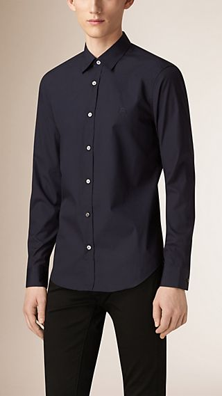 Check Detail Stretch Cotton Poplin Shirt