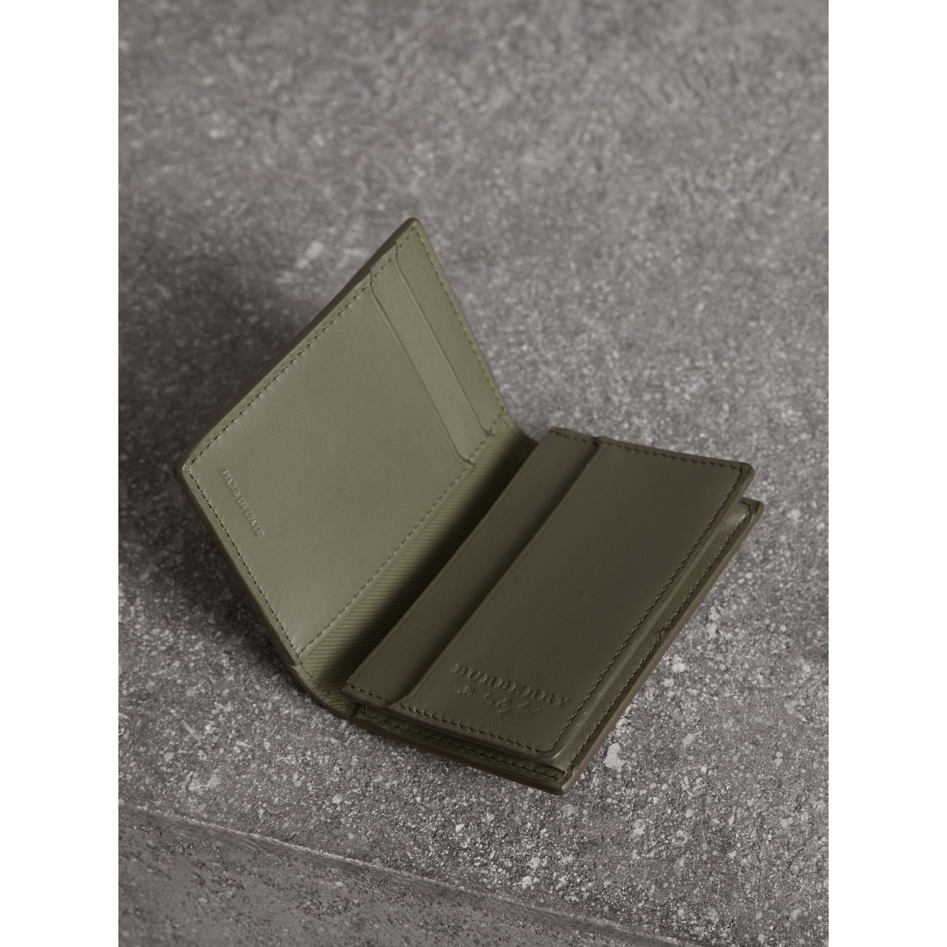 Trench Leather Folding Card Case in Slate Green - Men | Burberry Australia - gallery image 3