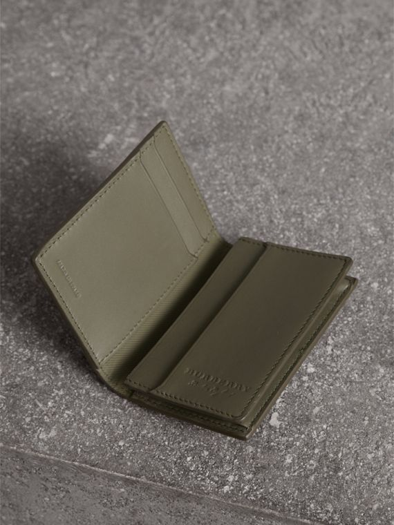 Trench Leather Folding Card Case in Slate Green - Men | Burberry - cell image 3