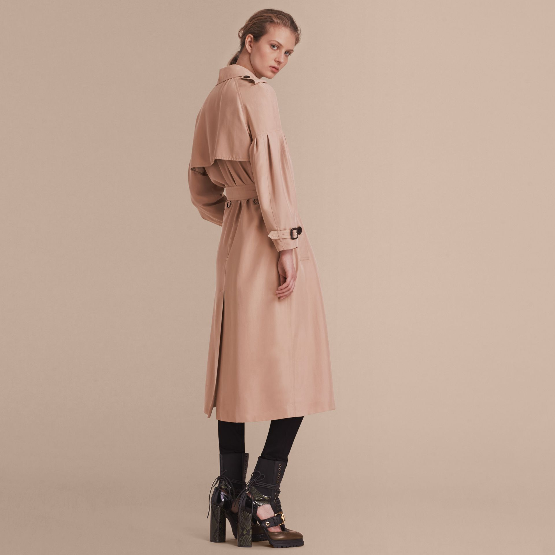 Oversize Silk Trench Coat with Puff Sleeves in Nude - gallery image 3