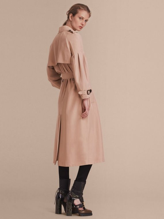 Oversize Silk Trench Coat with Puff Sleeves in Nude - cell image 2