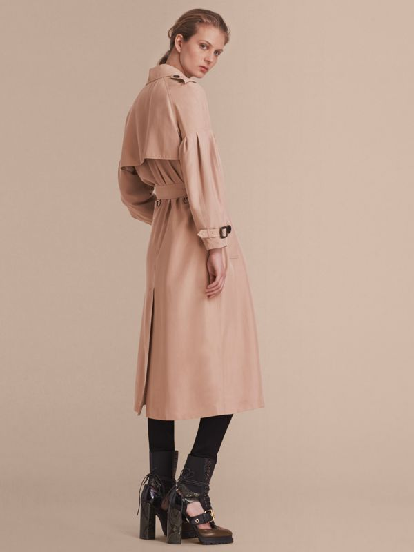 Oversize Silk Trench Coat with Puff Sleeves in Nude - Women   Burberry - cell image 2