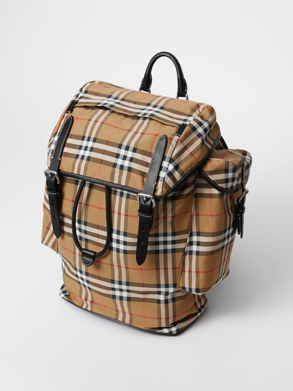 Vintage Check and Leather Backpack in Antique Yellow - Men | Burberry - cell image 3