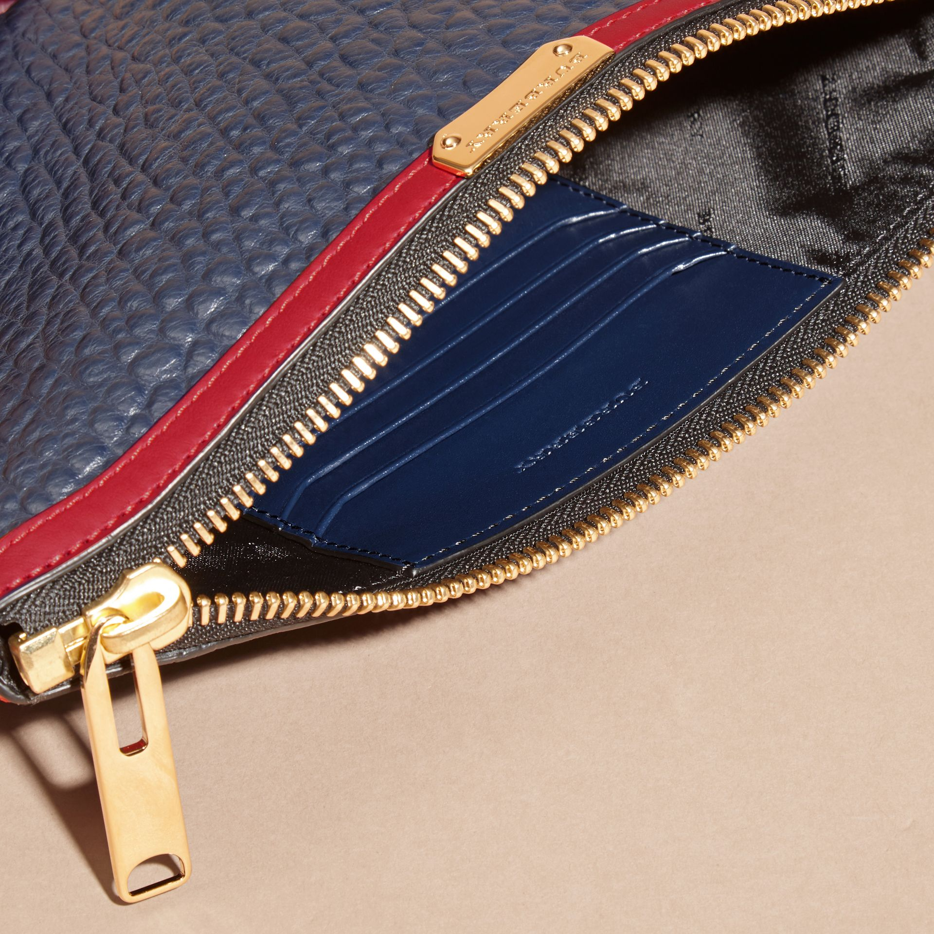Blue crbn/parade red Contrast Border Signature Grain Leather Clutch Bag - gallery image 6