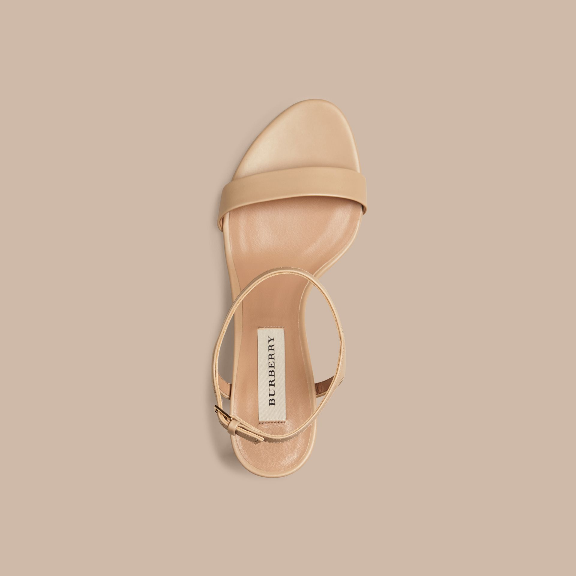 Light nude Check Detail Leather Sandals - gallery image 3