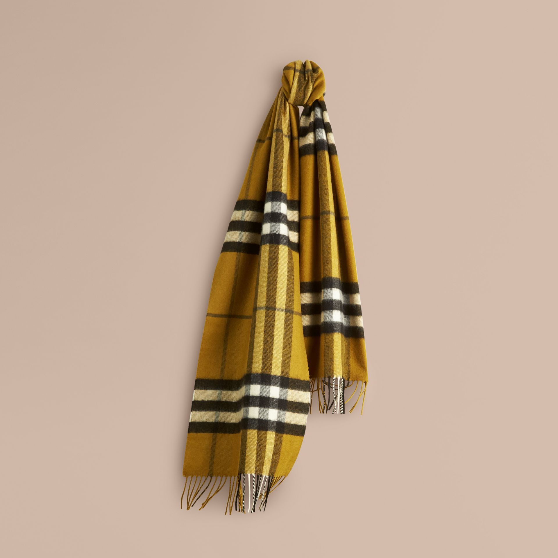 The Classic Cashmere Scarf in Check in Dark Lime - gallery image 6